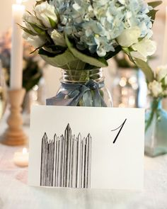Hand Drawn, Unique Pittsburgh Icon & Landmark wedding table numbers by Pineapple Street Designs. Perfect for a Pittsburgh themed wedding. PPG Place wedding table card drawing