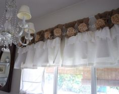 Burlap/Linen wide ruched tabs curtains Tea di RusticChicTogether