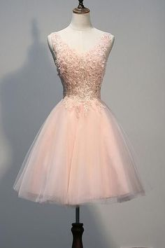 AHC052 Blush Pink Lace Beaded Backless V-neck Homecoming Dresses 2017