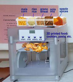 Stampante 3D eco-solidale - Eco-solidarity 3D printer Progetto di una stampante 3D eco-solidale per la produzione di cibo per paesi in via di sviluppo. Le materie prime sono posizionate in alto e la stampante produce il cibo adeguato alla tipologia dell'utente (bambino, giovane, vecchio e ammalato) secondo forme della tradizione locale.