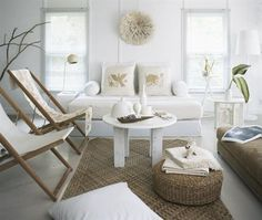 14 Great Beach Themed Living Room Ideas - Decoholic  look at the chairs and the basket