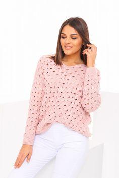 Ružový dámsky sveter s krásnou pletenou štrukturou Pullover, Blouse, Long Sleeve, Sleeves, Sweaters, Tops, Women, Fashion, Tricot