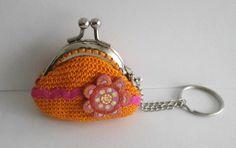 llavero mini-monedero a crochet