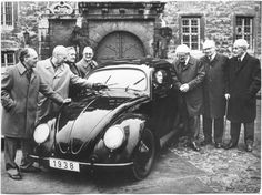 B & W photo of 1938 VW Beetle
