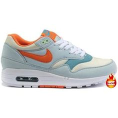 best sneakers 54286 5692a New Nike Air Max 87 Womens Shoes Light Skyblue Orange White Free Running  Shoes