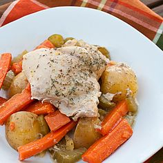 Crock Pot Country Chicken Recipe Main Dishes with yukon gold potatoes, carrots, celery ribs, boneless chicken skinless thigh, corn starch, chicken stock, honey dijon mustard, dill, salt, pepper