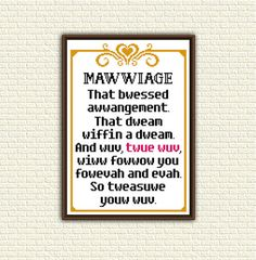 Cross Stitch Pattern pdf - Mawwiage. That bwessed awwangement - Princess Bride -  quote - KbK-074