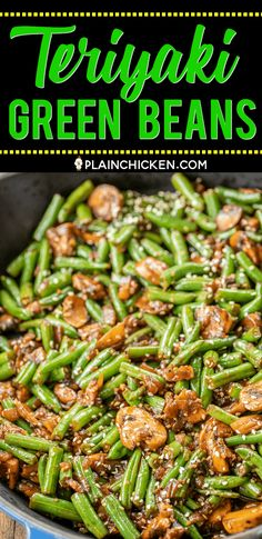 Teriyaki Green Beans - Plain Chicken Teriyaki Green Beans - our favorite green bean recipe. SO delicious! Green beans, shallot, mushrooms, garlic, teriyaki sauce and sesame seeds. Ready to eat in about 15 minutes. Veggie Side Dishes, Vegetable Sides, Side Dishes Easy, Side Dish Recipes, Food Dishes, Asian Recipes, Healthy Recipes, Veggie Recipes Sides, Chinese Side Dishes
