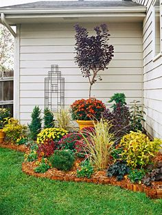 Incorporate curves as much as you can in your landscape design. They're much more pleasing to the eye than straight lines. Colorful plants mums, pansies, spiraea, and purple smokebush makes this border a knockout. Foliage color and texture can be just as pretty as flowers. In winter, red twig dogwood, a dwarf mugo pine, junipers, and ornamental grass...make a great show!!