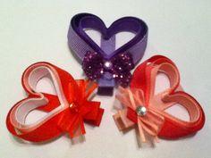 Valentine's Day Heart Ribbon Sculpture Hair Clip by KristinStephanie, $3.00