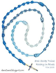 Scrap twine knotted rosary made with the Winter Blues Collection.