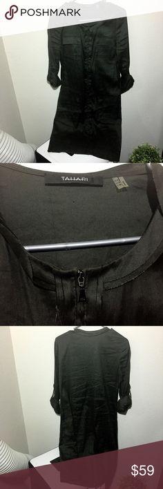Brown linen Tahari dress, sz S so cute! Excellent Brown linen Tahari dress, sz S so cute! Excellent condition Tahari Dresses Mini