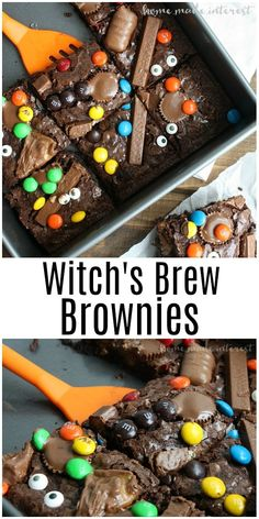 Ooey gooey chocolate brownies are an easy recipe for using up all of that leftover Halloween candy These are the perfect Halloween dessert recipe for your Halloween party. Dulces Halloween, Bonbon Halloween, Postres Halloween, Dessert Halloween, Halloween Treats For Kids, Halloween Party Snacks, Halloween Goodies, Snacks Für Party, Party Desserts