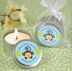 Whether placed in a pretty basket at the door or individually distributed at each place setting, your guests will be excited to receive a Monkey Boy personalized candle tin baby shower favor. These candle tin baby shower favors have a light scent everyone Recuerdos Baby Shower Niña, Regalo Baby Shower, Baby Shower Gift Bags, Baby Shower Souvenirs, Personalized Baby Shower Favors, Fiesta Baby Shower, Baby Shower Party Favors, Baby Shower Parties, Baby Shower Themes