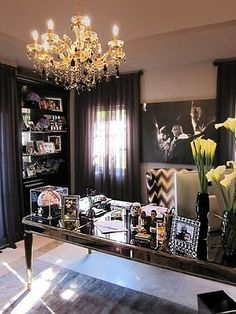 Glamorous home office - this might make me actually want to go to work....