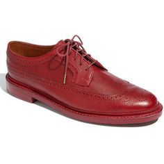 Red wing tips by Duckie Brown. Yes, I have these...also in purple and blue. Wearing them makes me a happy man.