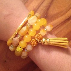 Yellow and Gold Gemstone Tassel Bling Crystal Charm Arm Candy Bracelet Set