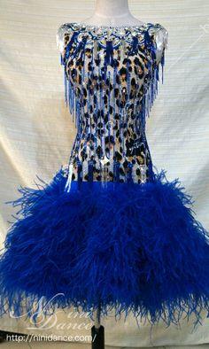 社交ダンスウェアNiniDance:D112豹柄に竹ビーズと青いオーストリッチのラテンドレス