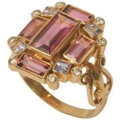 Art Deco Pink Tourmaline Tanzanite Diamonds Gold Ring.
