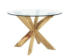 Cross Leg Dining Table With Round Glass Top