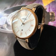 Ladies Fossil Designer Watch ES3988 JACQUELINE White Dial Steel Leather Genuine | eBay Fossil Jacqueline, Watch Display Case, Popular Watches, Stainless Steel Types, Girl Model, Leather Case, Jewelry Collection, Im Not Perfect, Lady