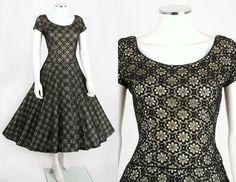 VTG 1950s MISS JANE JUNIOR BLACK LACE RHINESTONE CAP SLEEVE PARTY DRESS SZ 11 #MissJaneJunior