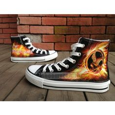 Hunger Games hand painted black canvas shoes for men/women | shoemycolor - Clothing on ArtFire I would die for these