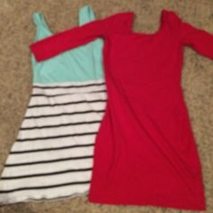 3 dress bundle Red dress is an XS from Charlotte Russe, blue and striped one is a SMALL from Charlotte Russe, & the grey and black tribal print is a MEDIUM from target. The medium dress fits like a small. Someone purchased before and cancelled the order so just reselling! Charlotte Russe Dresses Mini