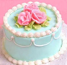 welcome to Dainty Delights - Pink Rose Blue Round Mini Cake - no recipes, but good for inspiration