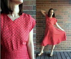vtg 30s CHERRY RED full skirt DRESS bias cut Medium/Large midi