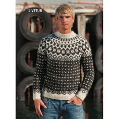 - Icelandic Vetur (Winter) Mens Wool Sweater Black - Tailor Made - Nordic Store Icelandic Wool Sweaters - 1 Nordic Pullover, Nordic Sweater, Men Sweater, Knitting Kits, Knitting Designs, Knitting Patterns, Crochet Patterns, Vogue Knitting, Icelandic Sweaters