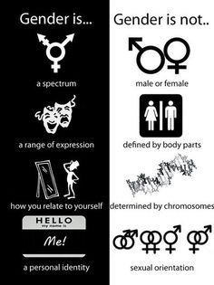 """""""Gender is... a spectrum, a range of expression, how you relate to yourself, a personal identity. Gender is not... [only] male or female, defined by body parts, determined by chromosomes, sexual orientation."""""""