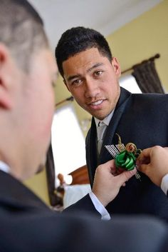 Flaxation buttonhole 'Fan' style with fern and koru. Thank you to our groom Tamati for sharing this image with us. Wedding Bouquets, Wedding Flowers, Groom Attire, Buttonholes, Class Ring, Grooms, Fern, Image, Style