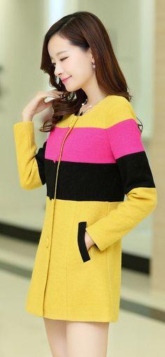 Large #Stripes Korean Cashmere Coat YRB0558 #yellow £33.20