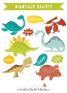 A cute Dinosaur clip art clipart set from Creative Clip Art collection. This Dinosaur clip art set is perfect for themed birthday party invitations, decorating, cup cake toppers and much more. Just use your imagination! #dinosaur #dinosaurs #clipart #illustration #scrapbooking #craft #papercraft