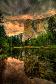 Evening light on El Capitan and the Merced River in Yosemite National Park.