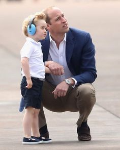 on July 8, 2016 in Fairford, England.  Prince George during a visit to the Royal International Air Tattoo at RAF Fairford #duchesscatherine #princeWilliam at #RAF #surprisevisit #princeGeorge #fathersnssonmoment