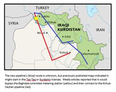 Oil pipelines between Iraq and Turkey.  From the site: The new pipeline's (blue) route is unknown, but previous maps indicated it might start in the Taq Taq or Kurdamir licenses. Media articles reported that it would bypass the Baghdad-controlled metering station (yellow) and then connect to the Kirkuk-Ceyhan pipeline (red). Baghdad, Middle East, Yellow, Blue, Maps, Minerals, Connection, Turkey, Articles