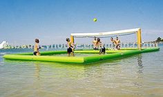 Floating beach volleyball court, perfect for a day on the lake Beach Volleyball, Volleyball Court Size, Volleyball Jewelry, Aqua, Objet Wtf, Floating, Lake Life, Outdoor Fun, Outdoors