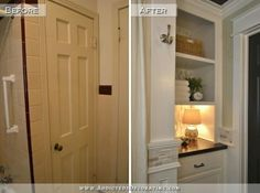 Remodel Bathroom Linen Closet hallway bathroom remodel: before & after | open shelves, shelves