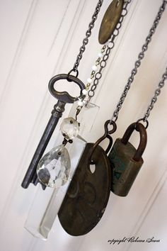 Easy to make, all you need are several lengths of chain and a few pieces of old metal (forks, keys, canopeners, etc.).  Go rummage through your craft stash and you'll find something, I promise.  If you want to make the sound really pretty, include a crystal piece--the sound is beautiful!