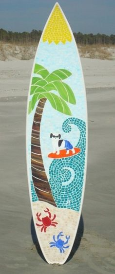 Surfing Dog Stained Glass Mosaic by Janny Dangerous