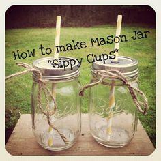 mason jars and straws