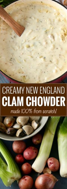 Creamy New England Clam Chowder | The perfect comfort food on a cold night, this creamy clam chowder is easy to make, uses fresh clams, and makes enough to feed a huge family! | https://thechunkychef.com | #clamchowder #clamchowderrecipe #newenglandclamchowder #souprecipe #soup #chowder