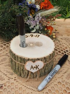 Wood PEN HOLDER - Guest Book - Wedding Table - Wood - Rustic Country Wedding - Brown by theflowerpatch on Etsy https://www.etsy.com/listing/386739194/wood-pen-holder-guest-book-wedding-table