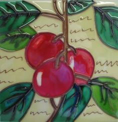 Cherry Fruit Kitchen Decorative Ceramic Wall Art Tile 4x4 by CCWT. $14.95
