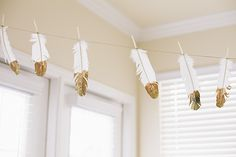 adorable glitter feather garland via:   me and him blog