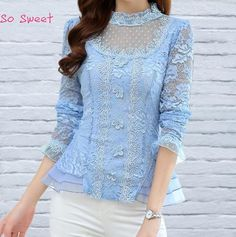 Sky Blue Lace Floral OL Blouse Women See Through Long Sleeve 2015 Winter New Blusas Hem 3 Layer Design Tops BL2196-in Blouses & Shirts from Women's Clothing & Accessories on Aliexpress.com | Alibaba Group