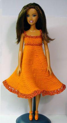 dress no. 220, pretty barbie dresses at http://www.stickatillbarbie.se/ 50 patterns here