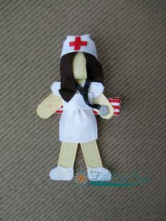 Customizable Nurse Ribbon Sculpture Hair Clip or Brooch Pin via Etsy